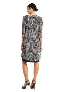 Two-Piece Puff Print Jacket Dress - Black / Ivory - Back