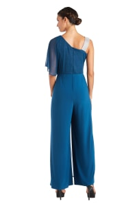 One Piece Glitter Jumpsuit - Peacock - Back