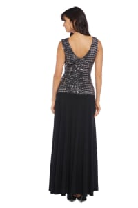 Sleeveless Maxi Gown with Sequined top and Draped Cowl Neck - Back