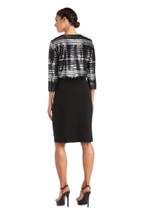 Striped Power Mesh Shrug - Black / Silver - Back