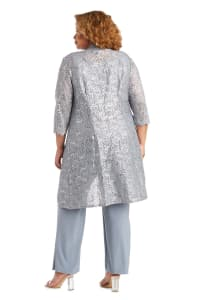Three-Piece Pant Set with Metallic Lace and Long-Line Jacket - Plus - Back