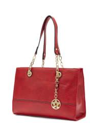 Chain Trim Satchel Handbag - Red - Back