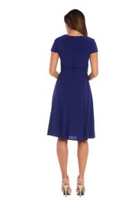Short Sleeve Rhinestone Ring Faux Wrap Dress - Electric Blue - Back