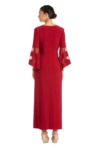 Crossover Maxi Dress with Bell Sleeves and Sheer Inserts - Scarlet - Back