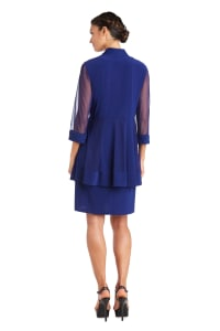 Shift Dress and Jacket Set with Textured Detail and Sheer Inserts - Back
