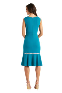 Sleeveless, Fitted Fishtail Dress with Diamante Embellishments - Teal - Back