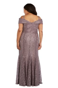 Off the Shoulder Glitter Lace Gown Godet Pleats at Hem - Plus - Mocha - Back