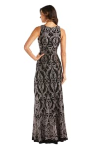 Sheer Insert Glitter Placement Slinky Dress - Black / Gold - Back