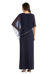 Rhinestone Poncho Metallic Stripe Dress - Navy - Back