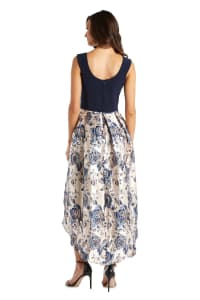 Metallic Brocade Square Neck High Low Dress - Back