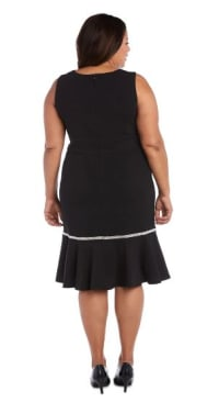 Sleeveless, Fitted Fishtail Dress with Diamante Embellishments - Plus - Black - Back