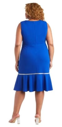 Sleeveless, Fitted Fishtail Dress with Diamante Embellishments - Plus - Royal Blue - Back