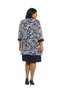 Scroll Mesh  Jacket with Sheath Dress - Plus - Navy/White - Back