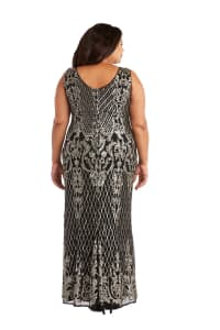 Sequined Maxi Gown with V-Neck and Fitted Silhouette -Plus - Black / Gold - Back