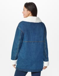 Oversized Denim Jacket with Sherpa Lining - Dark Wash - Back