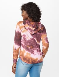 Tie Dye Thermal Knit Hoodie - Wine/Taffy - Back