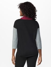 DB Sunday Color Block Knit Top - Burgundy - Back