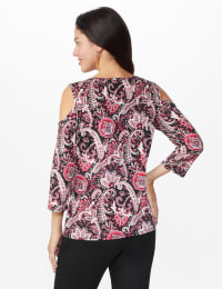 Westport Bohemian Print knit Top - Misses - Burgundy/Pink - Back