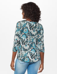 Westport Bohemian Print  Knit Top - Teal/Black - Back