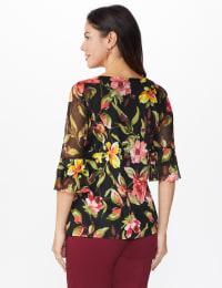 Westport Floral Mesh Ruffle Sleeve Top - Black Multi - Back