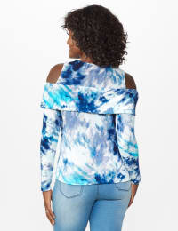 Tie Dye Thermal Cold Shoulder Top - Misses - Navy/Aqua - Back