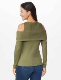 Cold Shoulder Knit Top - Light Olive - Back