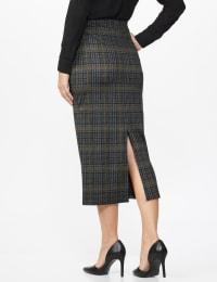 Printed ponte long slim skirt with back slit - Misses - Black/Gong - Back