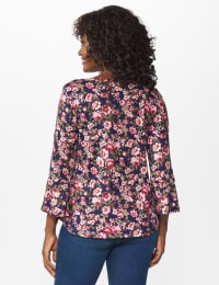 Dressbarn Cold Shoulder Floral Knit Top - Navy/Mauve - Back