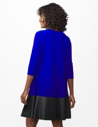 Knit Dress With Faux Leather Trim - Misses - Royal - Back