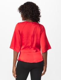 Satin Tie Front Blouse - Misses - Crimson Ruby - Back