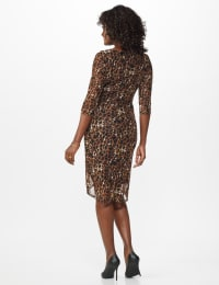 Leopard Wrap Dress - Brown - Back