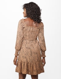 Smocked  Cheetah Dress - Misses - Taupe/Black - Back