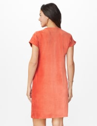 Patch Pocket Sheath Dress - Misses - Cinnabar - Back