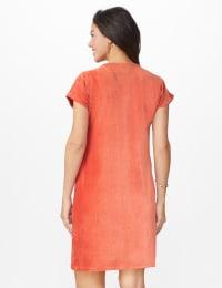 Patch Pocket Sheath Dress - Cinnabar - Back
