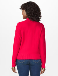 Roz & Ali Funnel Neck Cable Sweater - Red - Back