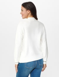 Roz & Ali Funnel Neck Cable Sweater - Winter White - Back