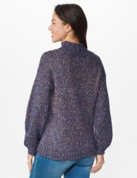 Roz & Ali Novelty Pullover Sweater - Navy Multi - Back