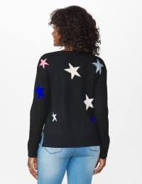 Roz & Ali Stars Pullover Sweater - Misses - Multi - Back