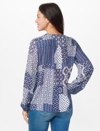 Westport Patchwork Wrap Blouse - Navy - Back