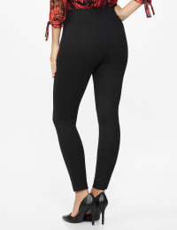 Ponte Pull on Legging with Seam Detail - Misses - Black - Back