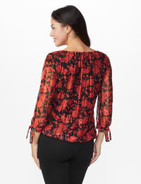 Roz & Ali Floral Tie Sleeve Bubble Hem Blouse - Misses - Red - Back