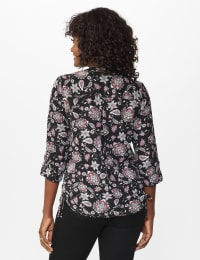 Roz & Ali Floral Side Tie Popover Blouse - Misses - Black/Mauve - Back