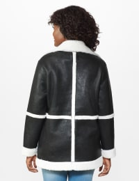 Sherpa Bonded Faux Leather Coat - Black/Natural - Back