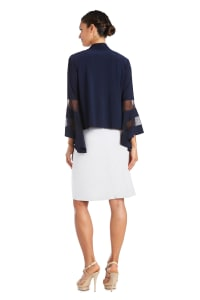 Draped, Open Jacket with Full Sleeves and Sheer Inserts - Navy - Back