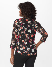 Roz & Ali Floral Pintuck Popover - Misses - Black Multi - Back