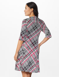 Plaid Split Cowl Dress - Black - Back