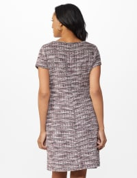 Boucle Sheath Dress - Dark Plum - Back