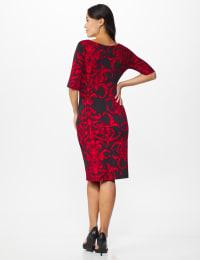 Scroll Sheath Dress - red - Back