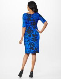 Scroll Sheath Dress - Royal Blue - Back