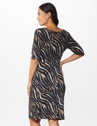 Zebra  Faux Wrap Dress - Black - Back